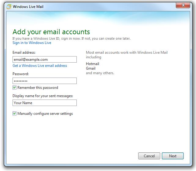 How do I set up my email in Windows Live Mail? | Knowledge Article
